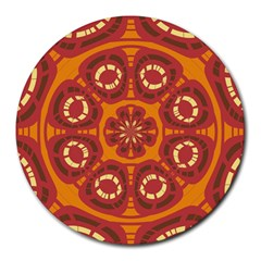 Dark Red Abstract Round Mousepads by linceazul