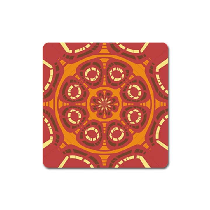 Dark Red Abstract Square Magnet