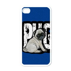 Pug Apple Iphone 4 Case (white) by Valentinaart