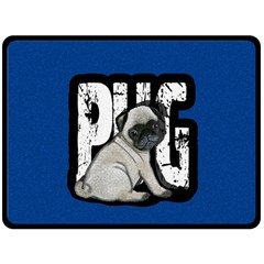 Pug Double Sided Fleece Blanket (large)  by Valentinaart
