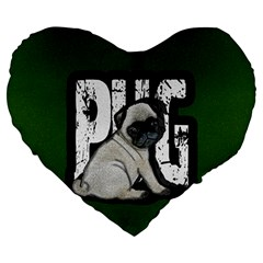 Pug Large 19  Premium Flano Heart Shape Cushions by Valentinaart