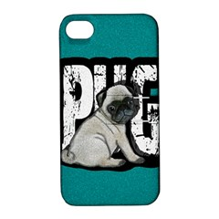 Pug Apple Iphone 4/4s Hardshell Case With Stand by Valentinaart