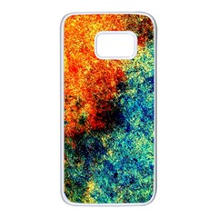 Orange Blue Background Samsung Galaxy S7 White Seamless Case by Costasonlineshop