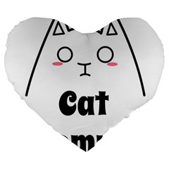 Love My Cat Mommy Large 19  Premium Heart Shape Cushions by Catifornia