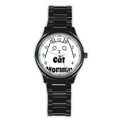 Love My Cat Mommy Stainless Steel Round Watch