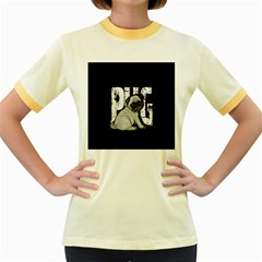 Pug Women s Fitted Ringer T-shirts by Valentinaart