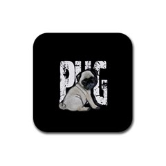 Pug Rubber Square Coaster (4 Pack)