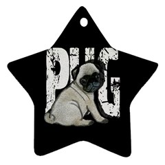 Pug Star Ornament (two Sides) by Valentinaart