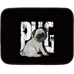 Pug Fleece Blanket (mini) by Valentinaart