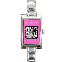 Pug Rectangle Italian Charm Watch by Valentinaart
