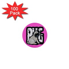 Pug 1  Mini Buttons (100 Pack)  by Valentinaart