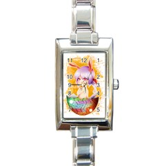 Easter Bunny Girl Rectangle Italian Charm Watch by Catifornia