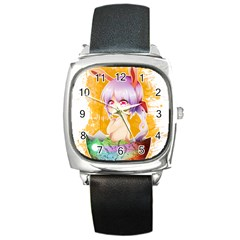 Easter Bunny Girl Square Metal Watch by Catifornia