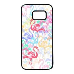 Flamingo Pattern Samsung Galaxy S7 Black Seamless Case by Valentinaart