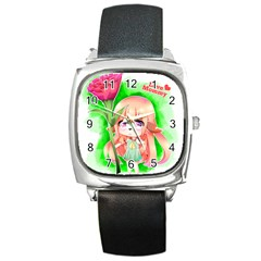 Happy Mother s Day Furry Girl Square Metal Watch by Catifornia