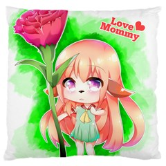 Happy Mother s Day Furry Girl Large Cushion Case (one Side) by Catifornia