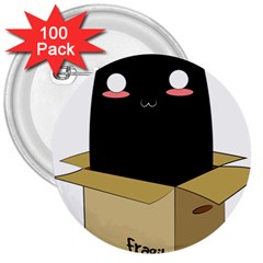 Black Cat In A Box 3  Buttons (100 Pack)  by Catifornia