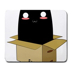 Black Cat In A Box Large Mousepads by Catifornia