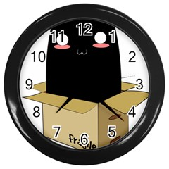 Black Cat In A Box Wall Clocks (black) by Catifornia