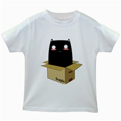 Black Cat In A Box Kids White T Shirts by Catifornia