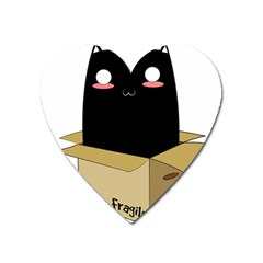 Black Cat In A Box Heart Magnet by Catifornia