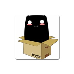 Black Cat In A Box Square Magnet by Catifornia