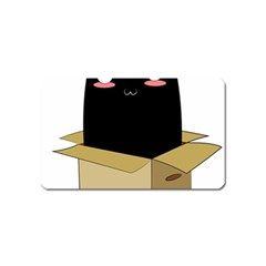 Black Cat In A Box Magnet (name Card) by Catifornia
