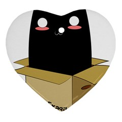 Black Cat In A Box Heart Ornament (two Sides) by Catifornia