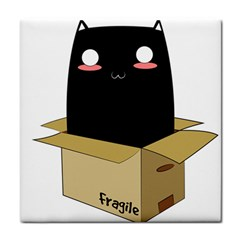 Black Cat In A Box Face Towel by Catifornia