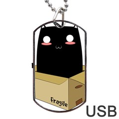 Black Cat In A Box Dog Tag Usb Flash (two Sides) by Catifornia