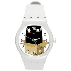 Black Cat In A Box Round Plastic Sport Watch (m) by Catifornia
