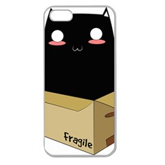 Black Cat In A Box Apple Seamless Iphone 5 Case (clear) by Catifornia