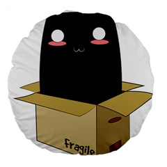 Black Cat In A Box Large 18  Premium Round Cushions by Catifornia