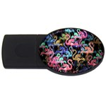 Flamingo pattern USB Flash Drive Oval (4 GB) Front