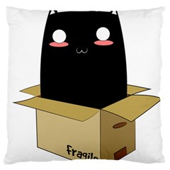 Black Cat In A Box Large Flano Cushion Case (one Side) by Catifornia