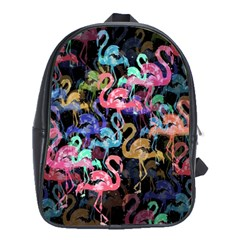 Flamingo Pattern School Bags (xl)  by Valentinaart