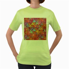 Flamingo Pattern Women s Green T Shirt