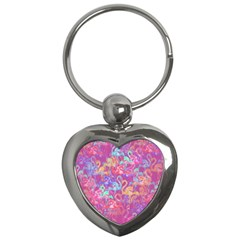 Flamingo Pattern Key Chains (heart)  by Valentinaart