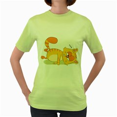 Even Cat Hates Monday Women s Green T Shirt by Catifornia
