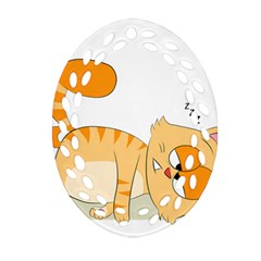 Even Cat Hates Monday Oval Filigree Ornament (two Sides) by Catifornia