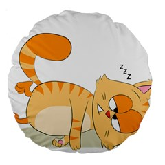 Even Cat Hates Monday Large 18  Premium Round Cushions by Catifornia