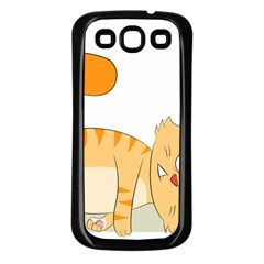 Even Cat Hates Monday Samsung Galaxy S3 Back Case (black) by Catifornia