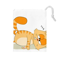 Even Cat Hates Monday Drawstring Pouches (large)  by Catifornia