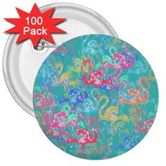 Flamingo Pattern 3  Buttons (100 Pack)  by Valentinaart