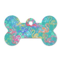 Flamingo Pattern Dog Tag Bone (two Sides)