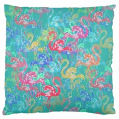Flamingo Pattern Large Flano Cushion Case (one Side)