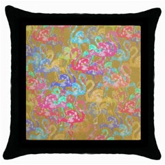 Flamingo Pattern Throw Pillow Case (black) by Valentinaart