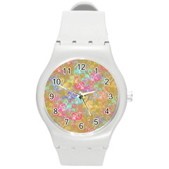 Flamingo Pattern Round Plastic Sport Watch (m)