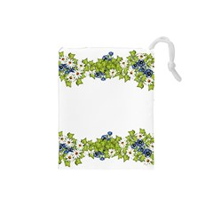 Birthday Card Flowers Daisies Ivy Drawstring Pouches (small)  by Nexatart