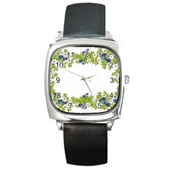 Birthday Card Flowers Daisies Ivy Square Metal Watch by Nexatart